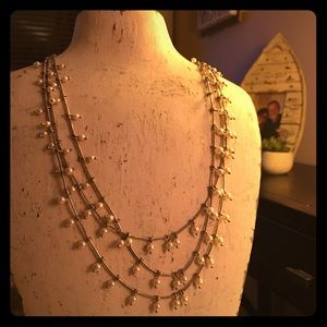 Three Bands Necklace with Pearls
